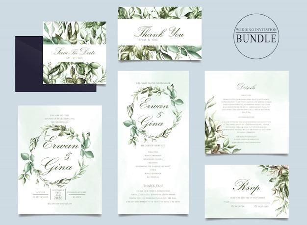 Pacco della carta dell'invito di nozze con il modello delle foglie verdi