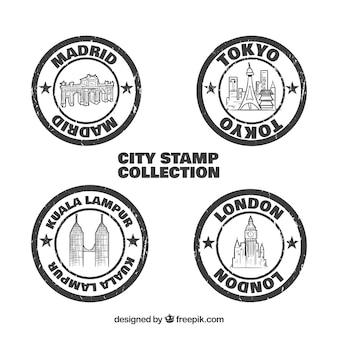 Pacco di città vintage rotonde sigilli