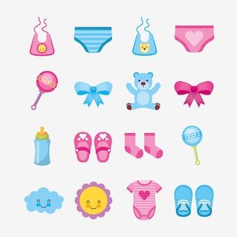 Pacco di progettazione sveglia dell'illustrazione degli accessori del bambino