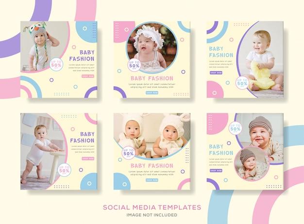Pack banner post per la moda bambino carino.