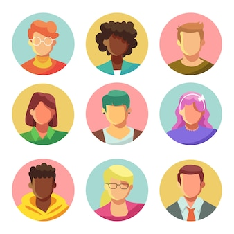 Pack di avatar di persone illustrate