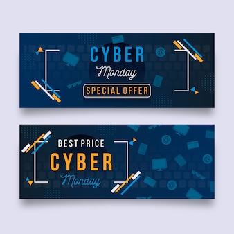 Pack di banner cyber lunedì design piatto