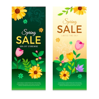 Pack di banner design piatto primavera vendita