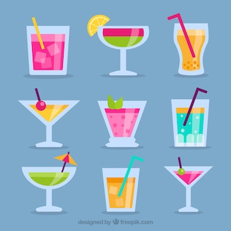 Pack di bebidas esotici e diseño plano