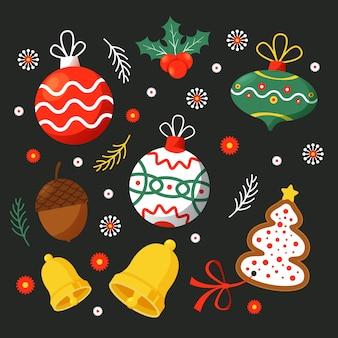 Pack di decorazioni natalizie design piatto