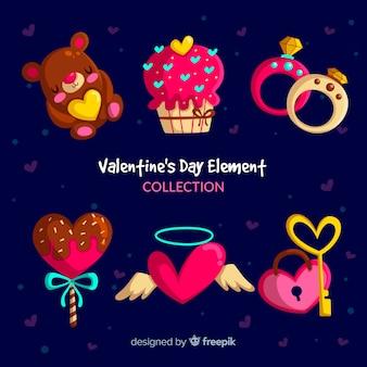 Pack di elementi di san valentino colorato