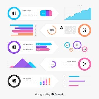 Pack di elementi infographic colorato