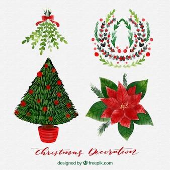 Pack di elementi natali di acquerello