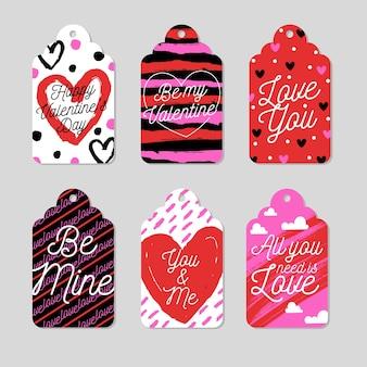 Pack di etichette per san valentino design piatto