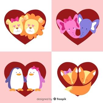 Pack di facce coppia di animali di san valentino