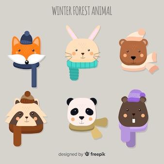 Pack di facce di animali della foresta invernale