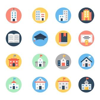 Pack di icone arrotondate piatte di architettura