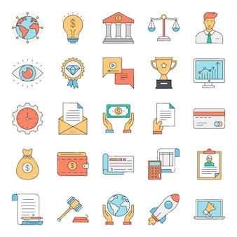Pack di icone concettuali di diritto commerciale