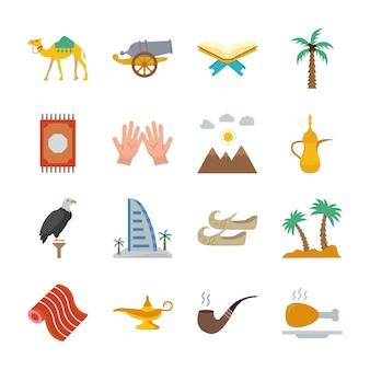 Pack di icone del vecchio patrimonio tradizionale nei paesi del golfo arabo