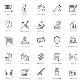 Pack di icone della linea di diritti legali