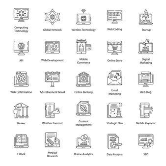Pack di icone della linea di interfaccia utente