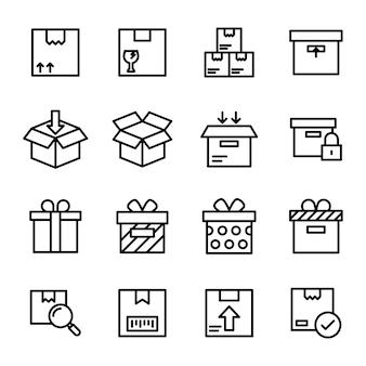 Pack di icone di linea di consegna logistica