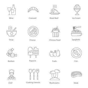 Pack di icone di linea di fast food e bevande