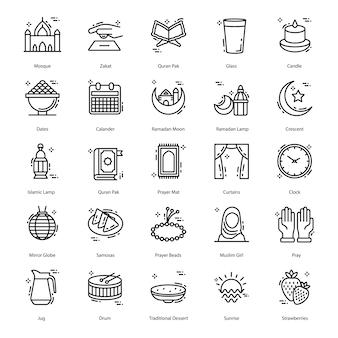 Pack di icone di linea di ramadan