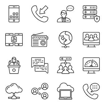 Pack di icone di linea di reti hardware