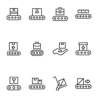 Pack di icone di linea di spedizione scatola di consegna