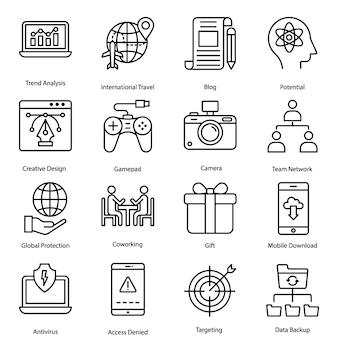 Pack di icone di linea sociale