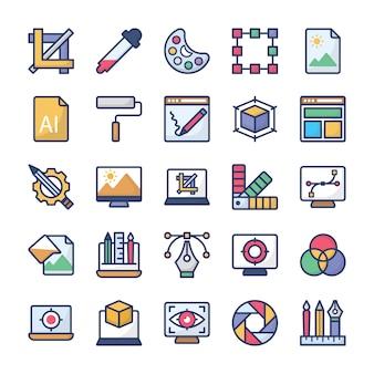 Pack di icone di progettazione grafica