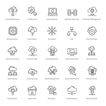 Pack di icone di tecnologia cloud linea