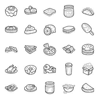 Pack di icone disegnate a mano cibo ristorante