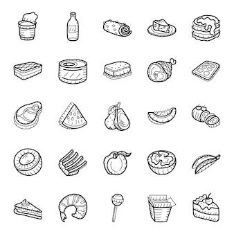 Pack di icone disegnate a mano cibo