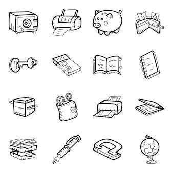 Pack di icone disegnate a mano di attività bancarie
