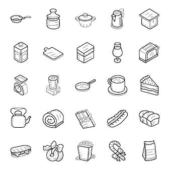 Pack di icone disegnate a mano fast food e bevande