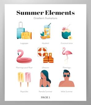 Pack di icone elementi estivi