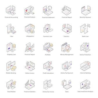 Pack di icone isometriche di contabilità e finanza