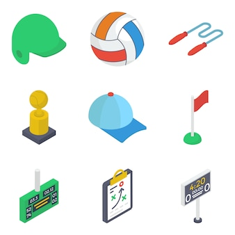 Pack di icone isometriche di strumenti sportivi