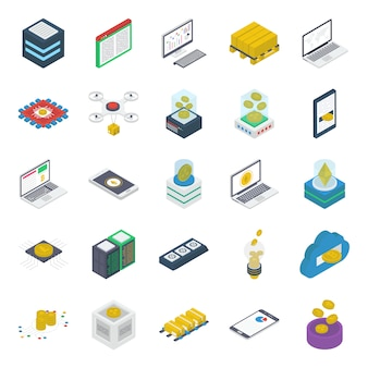 Pack di icone isometriche tecnologia bitcoin
