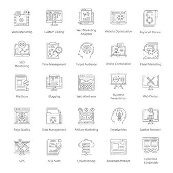 Pack di icone linea seo