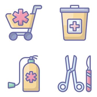 Pack di icone piane di accessori medici