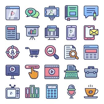 Pack di icone piane di copywriting e blogging