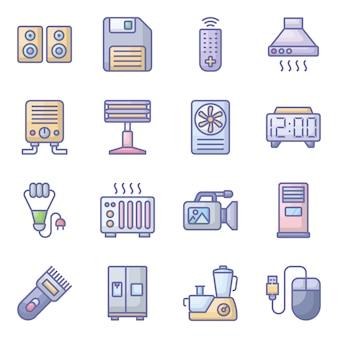 Pack di icone piane di dispositivi tecnologici