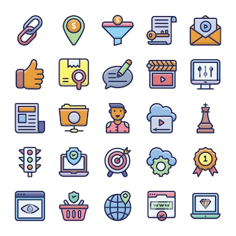 Pack di icone piane di ottimizzazione seo