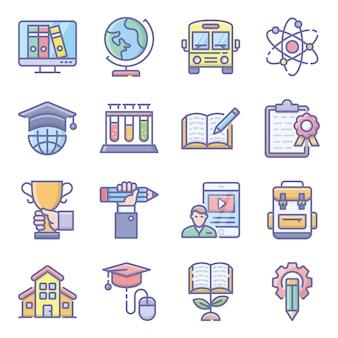 Pack di icone piane di scienza e istruzione