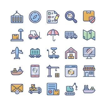 Pack di icone piane di servizi di consegna, spedizione e logistica