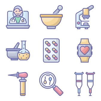 Pack di icone piane healthcare pack