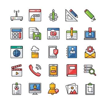 Pack di icone piatte dell'interfaccia utente