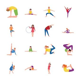 Pack di icone piatte di ginnastica per bambini