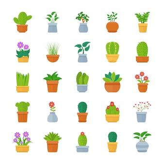 Pack di icone vettoriali piatto piante da appartamento