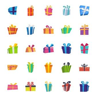 Pack di icone vettoriali piatto scatola regalo