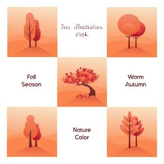 Pack di illustrazione dell'albero per l'autunno