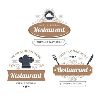 Pack di illustrazione logo ristorante retrò
